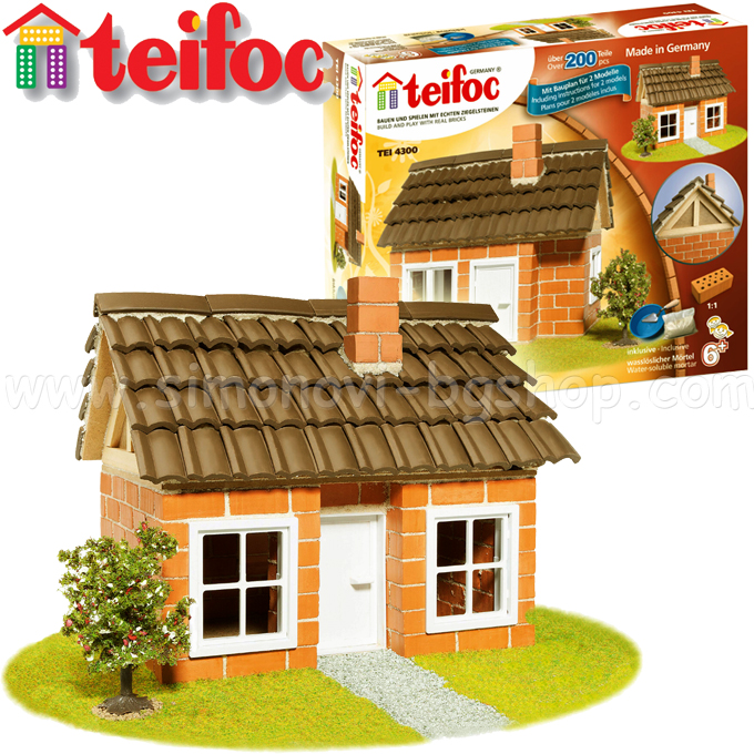 Teifoc Constructor Bricks House With Wooden Frame 4300