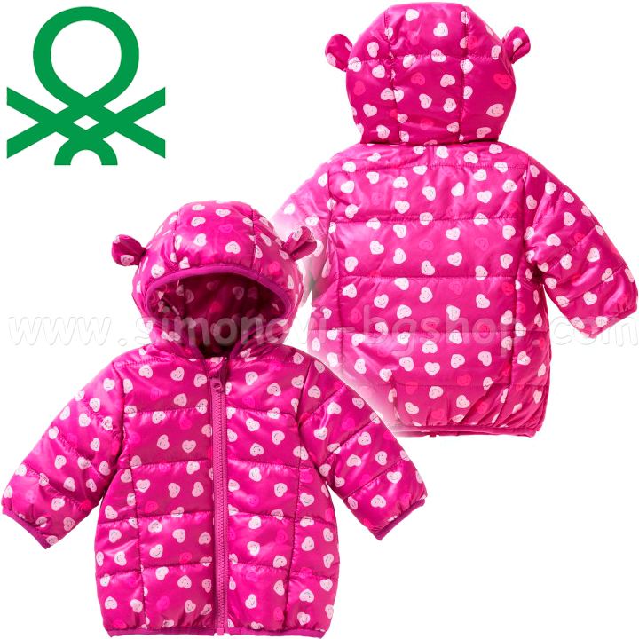 a0bbd695647 Benetton - Бебешко яке Printed Jacket Girls Pink