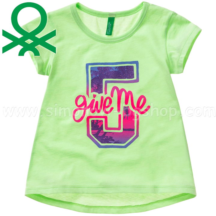 4340b2d5b82 *Benetton - Детска тениска Give Me 5 Green (1-4г.)