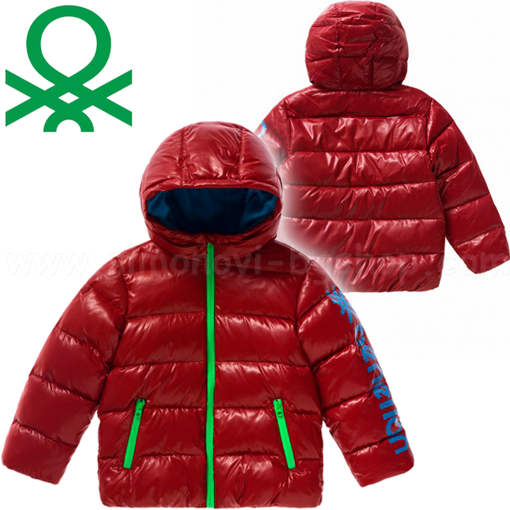 959f2145176 Benetton - Детско пухено яке Duvet padded jacket with hood Boys Red (90см.)