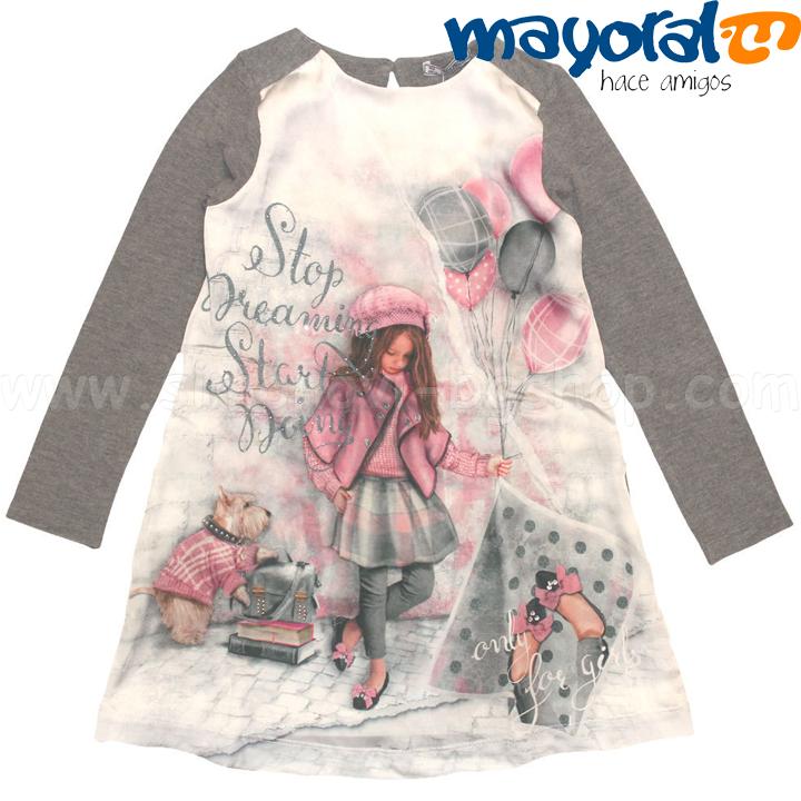 dcb74508558 Mayoral Girls Детска рокля с дълъг ръкав в сиво Балони 4951 Детски ...